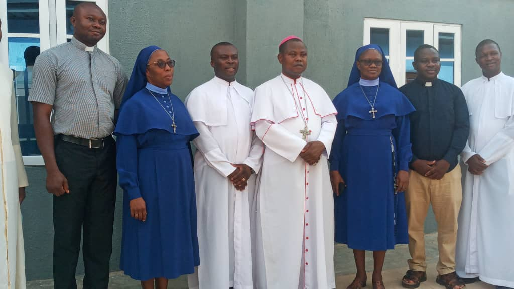 Photo pf Bishop Ernest Obodo and some priests